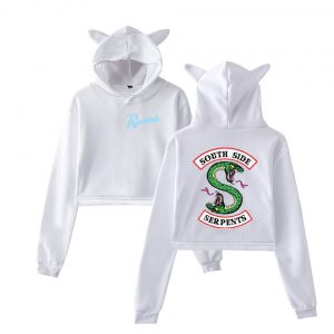 Riverdale Cropped Hoodie – White